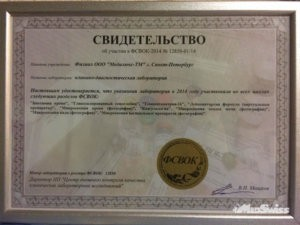 Свидетельство о участии в ФСВОК - 2014